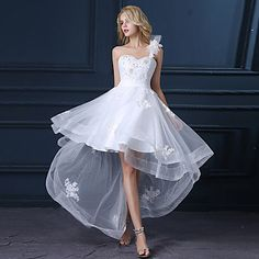 A-line+Wedding+Dress+Asymmetrical+One+Shoulder+Satin+/+Tulle+with+Appliques+–+CAD+$+125.09