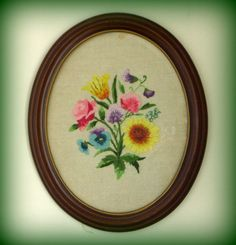 Vintage Framed Floral Crewel Embroidery by merrilyverilyvintage