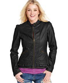 Faux-Leather Peplum Motorcycle Jacket - $69.50