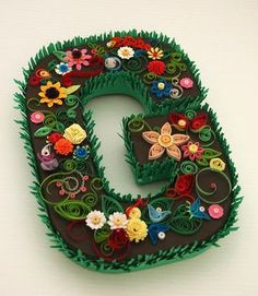 Letter G_Michelle_iso to left Quilling Letters, Quilling Craft, Paper Quilling, Quilling Ideas, Cardboard Letters, 3d Letters, Letters And Numbers, Paper Art, Paper Crafts