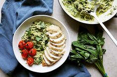Pesto sauced zucchini noodles are complemented here with juicy chicken breast and baked tomatoes that flood your mouth with natural sweetness as they pop in your mouth.