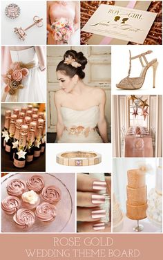 Rose gold wedding theme board/colour scheme - kind of cute. Gold Wedding Theme, Wedding Themes, Wedding Styles, Our Wedding, Dream Wedding, Wedding Decorations, Wedding Motiff, Wedding Songs, Spring Wedding