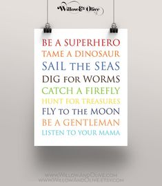 Be A Superhero Tame A Dinosaur Art Print Art by WillowAndOlive