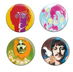 Set of 4 Beatles Psychedelic Era Badges & by WearMoreButtons, $9.00
