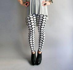 Polka Dot Leggings in White n Black    by PeekoApparel, $55.00