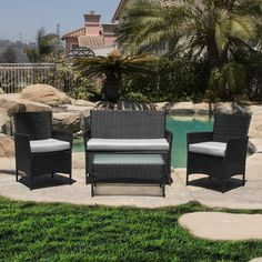Belleze 4 Piece Deep Seating Group With Cushion Finish: Black