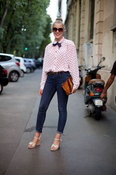 Street Style Spring 2013: Milan Fashion Week A sweet look that's polka-dotted and tied with a bow.