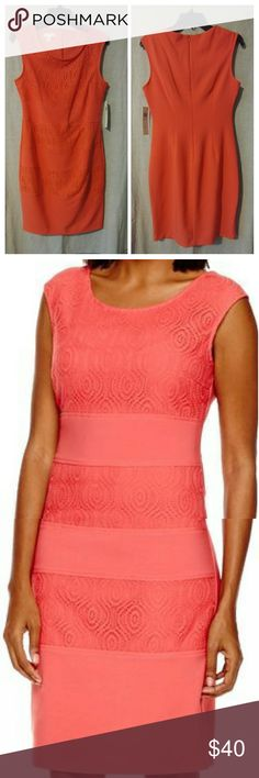 Sleeves lace sheath dress Form-fitting with lace accents, roundneck, sleeveless, back zipper approx. 37 length. Shell is 96% poly, 4% spandex. London Style Collection Dresses Midi