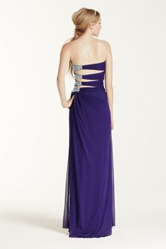 Vivid and modern, this sheer matte long jersey Prom dress will be this year's must have look!  Sweetheart strapless bodice features eye-catching gathered detail creating a flattering focal point.  Sparkling beaded side adds a glamorous touch.  Long sheer matte jersey fabric is comfortable to wear all night long.  Fully lined. Side zip. Imported polyester. Spot clean.