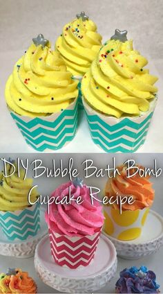 DIY Bubble Bath Bomb Cupcake Recipe & Tutorial Guide recipes in Creative Gifts, Cool Gifts, Homeade Gifts, Bubble Bath Bomb, Cupcake Bath Bombs, Homemade Bath Bombs, Cupcakes, Diy Skin Care, Inspirational Gifts