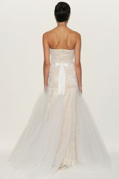 Eve of Miladay - Spring Bridal 2014  TAGS:Embroidered, Fishtail, Floor-length, Strapless, White, Pink, Eve of Milady, Crepe, Lace, Tulle, Elegant