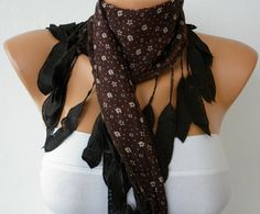 Brown Scarf Cotton Scarf Headband Necklace Cowl with  by fatwoman, $13.50