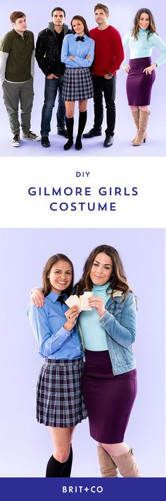 DIY a Gilmore Girls group costume, including Rory, Lorelai, Dean, Logan + Jess with this Halloween outfit tutorial.