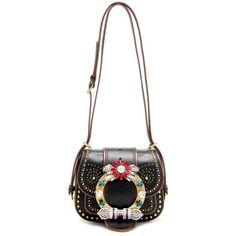 Miu Miu Embellished Leather Shoulder Bag ($3,485) ❤ liked on Polyvore featuring bags, handbags, shoulder bags, black, multi colored leather purses, miu miu handbags, colorful leather handbags, colorful handbags and miu miu purse