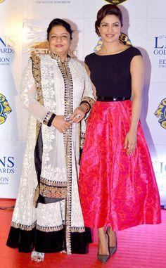 Priyanka Chopra with mother Dr. Madhu Chopra at the 21st Lions Gold Awards.