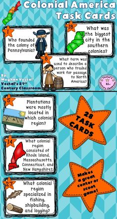 'Colonial America Task Cards' are a great resource for reviewing concepts about early English settlements and the 13 colonies. 'Colonial America Task Cards' includes 28 task cards, 2 student response sheets, and an answer key. Questions are all open ended. Makes a great social studies center, scoot activity, or review game! Topics covered: - The creation of the 13 colonies - Colonial regions - The lost colony of Roanoke - Jamestown - Plymouth & Massachusetts Bay