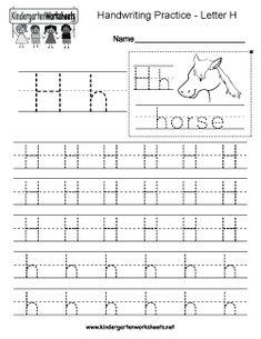 Letter H Writing Practice Worksheet
