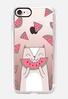 Casetify iPhone 7 Classic Grip Case - Cute cat eats watermelon- Happy animal by Anna Alekseeva kostolom3000 #Casetify
