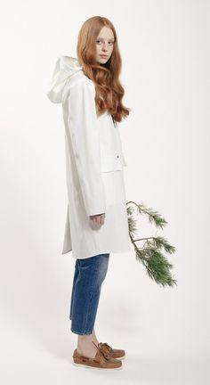Womens Fårö Coat 460 - White Grundéns Originals Rain Wear, Spring Summer 2015, White Dress, The Originals, Coat, Dresses, Women, Fashion, Accessories