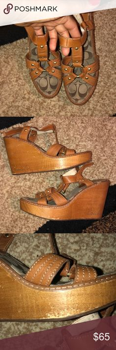 Pre-Loved Coach Wedges These shoes were made for walking!!  I extremely loved these wedges like no other Please see all pics for that wear of the shoes  Tons of life left Coach Shoes Wedges