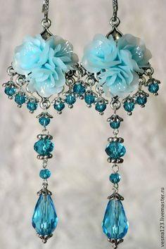 """Серьги """"Голубая Лагуна"""" - голубой,серьги,серьги ручной работы,серьги длинные"""