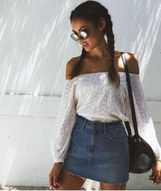 499a7c081850 Pretty off the shoulder top with denim mini skirt. Summer Skirt Outfits