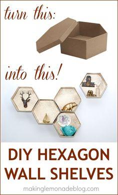 Easy DIY Hexagon Wall Shelves-- so easy, no sawing wood required! www.makinglemonadeblog.com