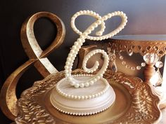Pearls Monogram Cake Topper With Lace Base by ParisBakeryPretties, $78.00