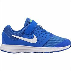a6b97531d6e38 Nike Boys  Downshifter 7 Running Shoes (Mega Blue White Green Strike Racer  Blue