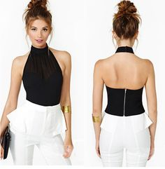 6f3d6d3f87 New Women Sexy Off Shoulder Backless Halter Neck Strap Chiffon Blouse  Elegant Tops FZ034 Crop Tops