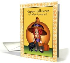 Happy Halloween to a Magical Girl! Cute Witch with Black Cat Greeting Card. #Witch #HalloweenCard #Halloween #BlackCat