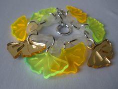 Ginkgo leaf bracelet   laser cut acrylic by CutByLightDesigns, $15.00