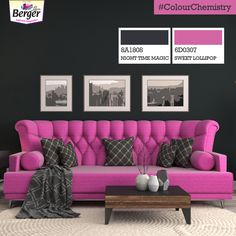 Take the classiness of your living room to the next level with the out-and-out combination of a deep black shade and a rich tone of pink. #ColourChemistry