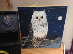Owl painting, wood block