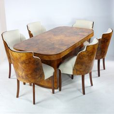 Art Deco Epstein Dining Suite 1930 S Antiques atlas Black Dining Room Sets, Round Dining Table Sets, Custom Dining Tables, Dining Table With Bench, Dining Room Table Chairs, Walnut Dining Table, Dining Room Furniture, Room Chairs, Distressed Wood Dining Table