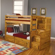 May be a little hooked on the look of bunkbeds at the moment!  Love the design of these bunk beds with the steps and storage! Would have to be longer though to accommodate growth.