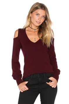 d22a730046c Autumn Cashmere Cold Shoulder V Neck Sweater in Black Rose