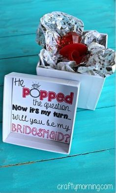 """He Popped The Question."" Bridesmaid Ring Pop Idea I love this creative idea and when it comes time for my wedding I will totally do this! Cute Wedding Ideas, Wedding Goals, Perfect Wedding, Our Wedding, Dream Wedding, Trendy Wedding, Wedding 2017, Wedding Stuff, Elegant Wedding"