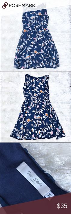 ASOS The Style Bird Dress Bird Print Dress from The Style London by Asos. Navy with pink, blue, and orange bird print. Size medium. Perfect for bird lovers! ASOS Dresses