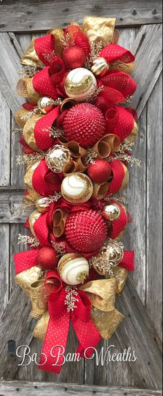 Red Gold Christmas by Ba Bam Wreaths