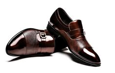 2013 Italian style fashion elegant metal buckle genuine leather shoes Men's luxurious black and brown shoes-in Oxfords