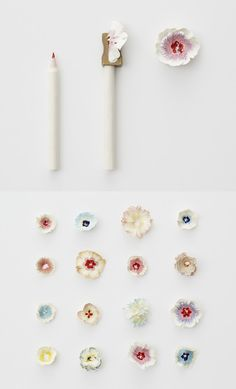 Haruka Misawa Floral photos of rolled up paper and pencil sharpener