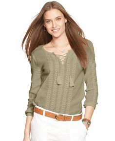 Lauren Jeans Co. Embroidered Lace-Up Top - Tops - Women - Macy's