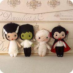 Halloween Pack - Dracula, Frankenstein, Bride, Mummy pdf Patterns. $17.00, via Etsy.