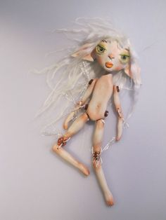 TINY TAN ELF Ooak art doll 7 inches tall puppet by Kaeriefaerie52, $55.00