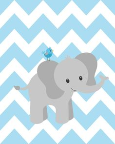 Elephant nursery decorations blue and gray nursery by ChicWallArt