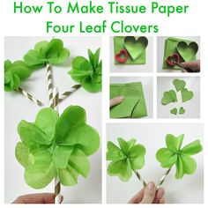 These cute tissue paper four leaf clovers are perfect to use for toppers or treats. Sprucing up your decorating for St Patrick's day couldn't be easier. Tissue Paper Flowers Easy, Tissue Paper Crafts, Easy Paper Crafts, Diy Flowers, Diy Crafts, St Patrick's Day Crafts, Fall Crafts, St. Patrick's Day Diy, Kindergarten Crafts