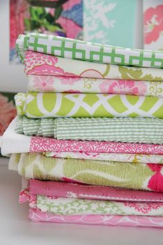 gorgeous green and pink fabrics
