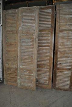 Antiek grenen louvre deuren van 230 cm lang en 56 cm breed