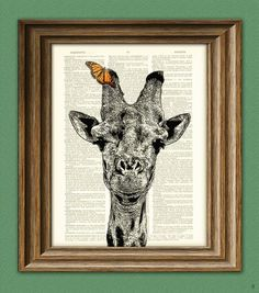 Giraffe Art Print Giraffe with Butterfly illustration beautifully upcycled dictionary page book art print. $7.99, via Etsy.
